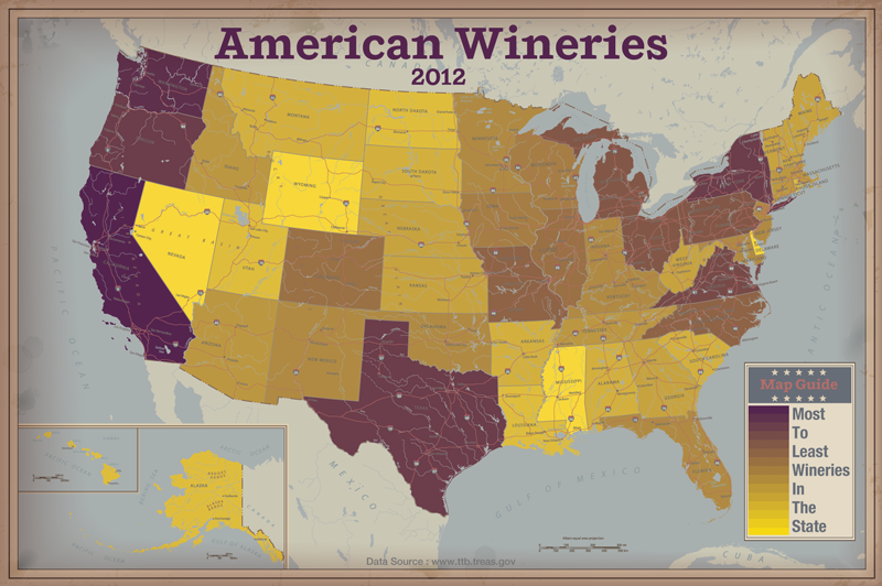 Americas Wineries Mapped By State HEATMAP The Ojays - Heat map of the us