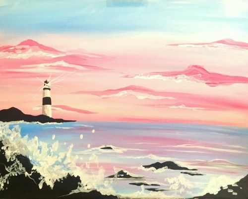 Paint Nite  Pink Sky Lighthouse  | Paint Class | Aesthetic