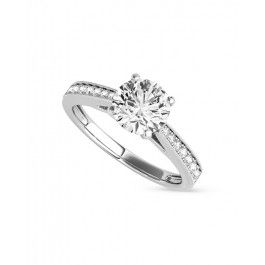 Baney - 0.65 - 2.50ctw Round Brilliant Moissanite Ring, 14k White, Yellow or Rose Gold