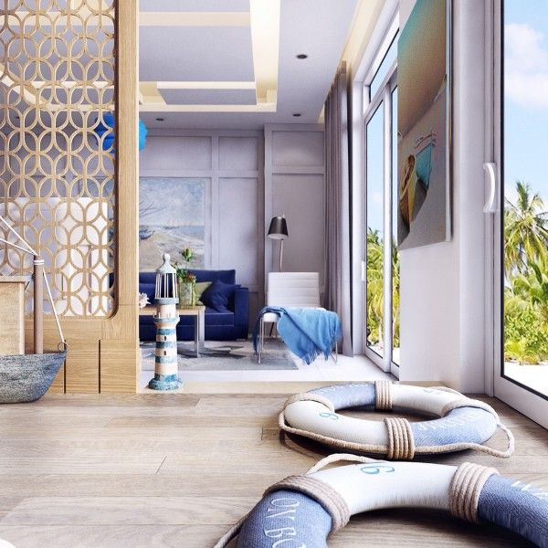 An open floorplan is made more comfortable by creative room dividers that keep the space open · nautical designmodern apartmentsthemed roomsstunningly