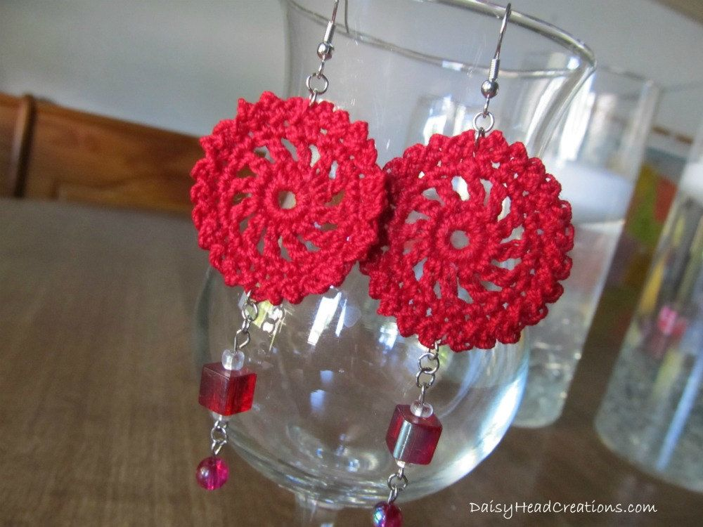 Simple Mandala Red Crocheted, Beaded Earrings- Hypoallergenic findings~ Love these! And they're so light that you forget you're wearing them!