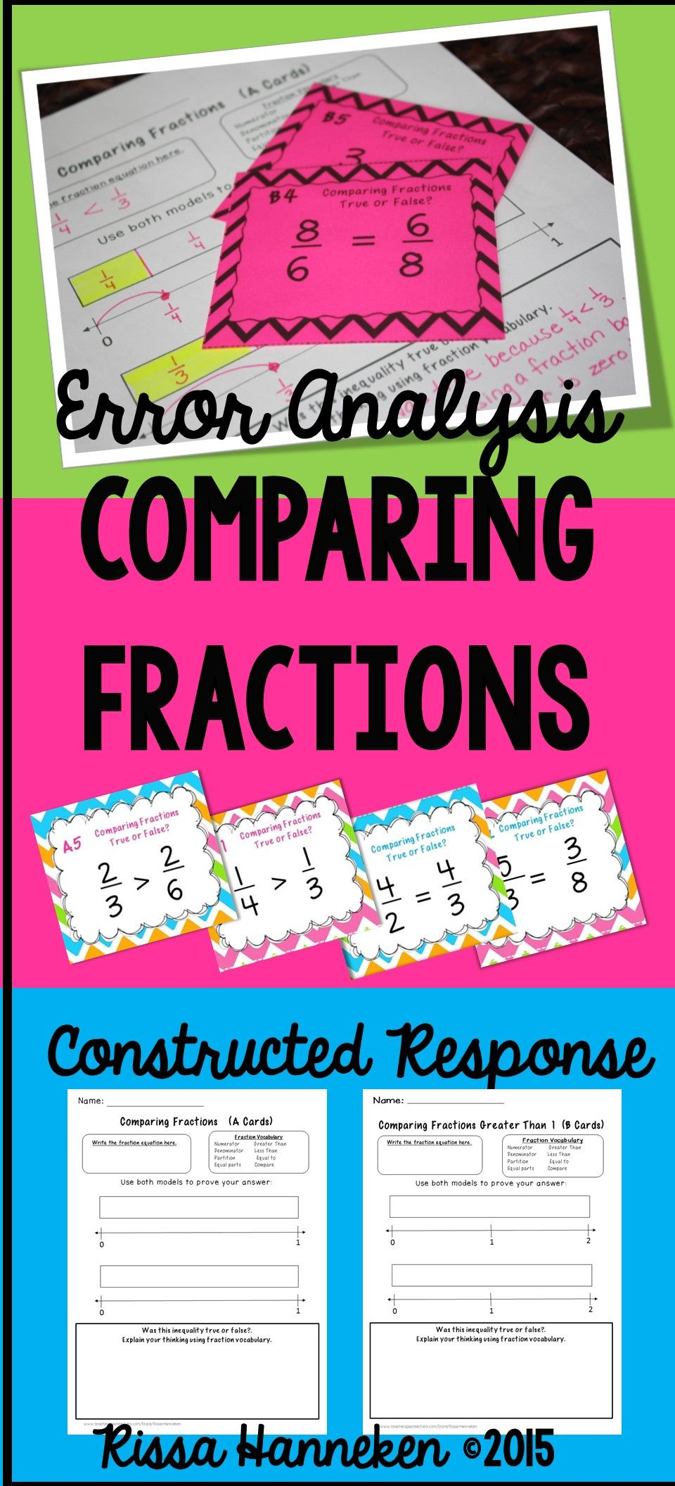 Comparing Fractions Task Cards - Error Analysis | Fractions | Pinterest