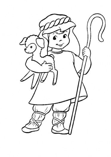 Shepherd with a Lamb Coloring Page Free Coloring Pages