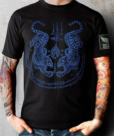 12ef071179a15 Art of fighting Blue Sak Yant Twin Tiger T-shirt $19.99 - European sizes M,  L, XL, 2XL