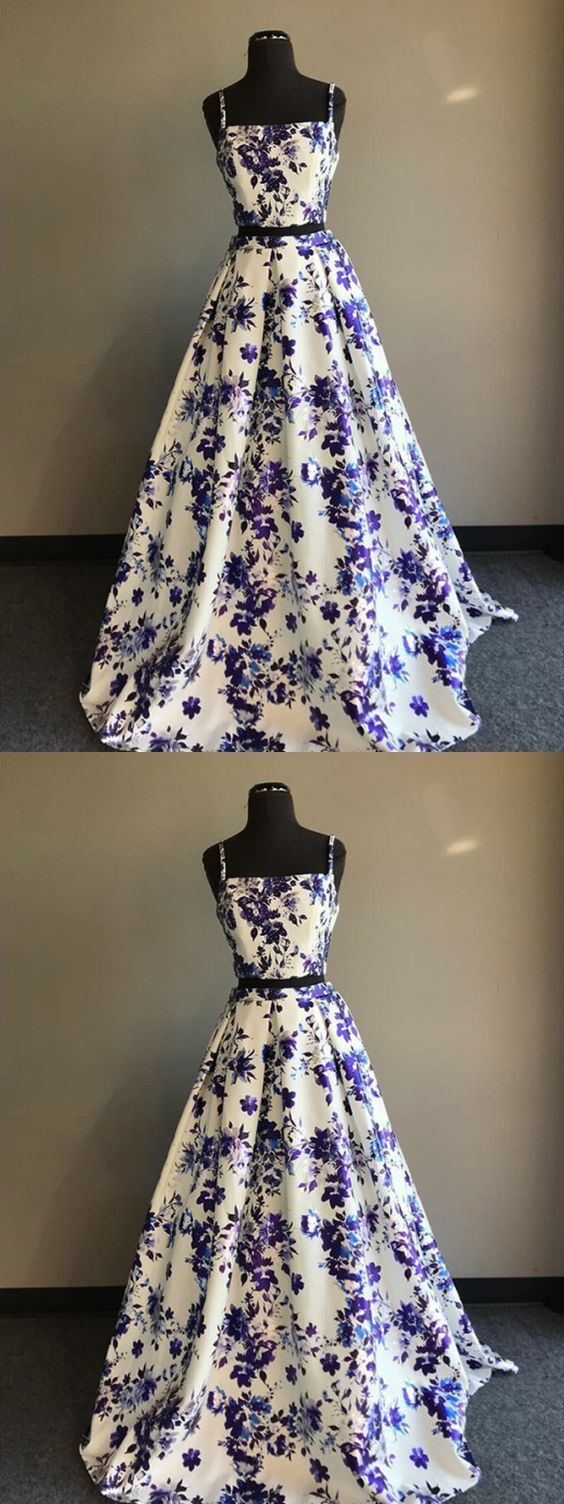 two piece prom dress floral cheap long prom dress in