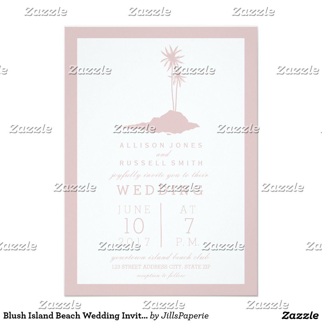 Blush Island Beach Wedding Invitation