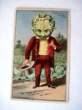 "Vintage 1887 Trade Card for ""Wheeler & Wilson"" Sewing Machines w/ Cabbage Head"