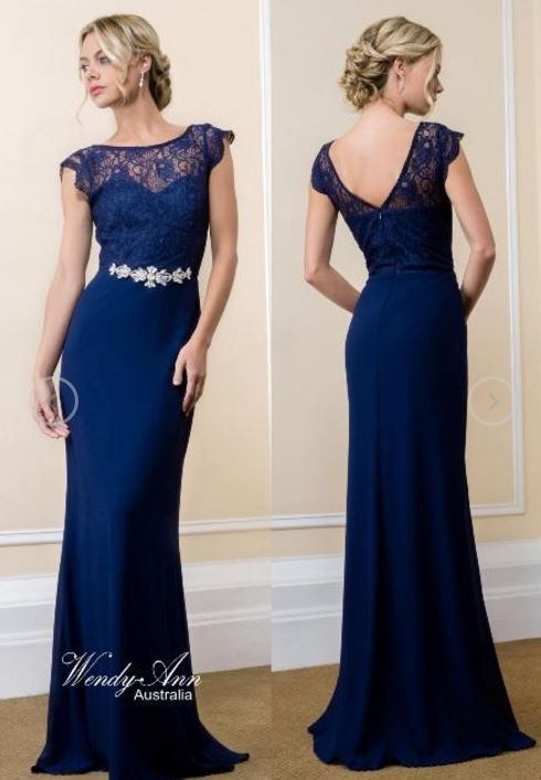 Gorgeous Full Length Chiffon & Lace Gown with low cut V Back. Invisible rear zipper closure. Elaborate Rhinestone Beading sewn onto waistband. Available in sizes XS – 3XL Colours: Dark Rose, Navy, Taupe, Teal or Wine