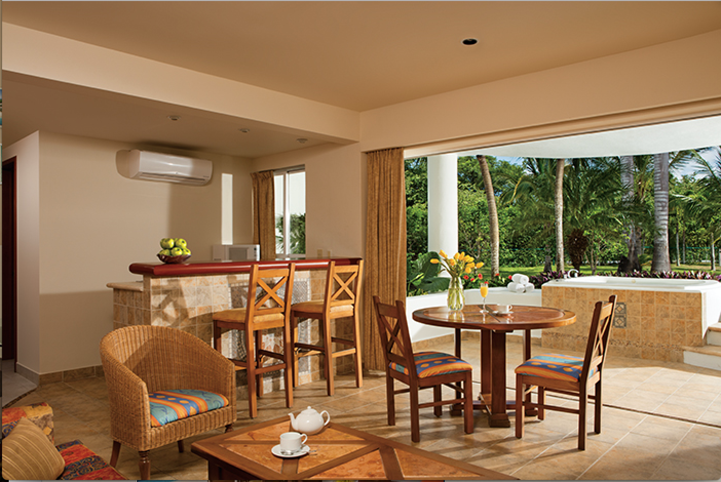 Junior Suite Tropical View living room area at Sunscape ... on Sunscape Outdoor Living id=48795