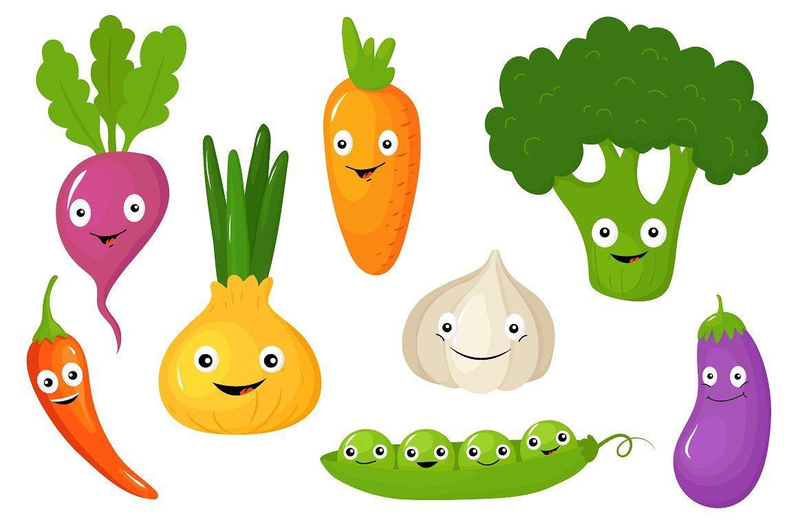 Funny Various Cartoon Vegetables   Детские рисунки ...