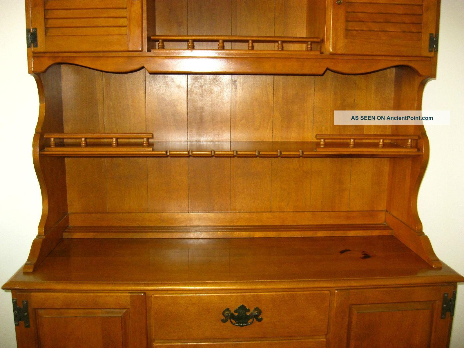 Vintage Ethan Allen Maple Wood Hutch Cupboard Cabinet Buffet Colonial Ethan Allen