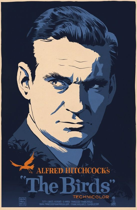 """francavillarts: """"THE BIRDS Poster Art by Francesco Francavilla So long, Rod Taylor, thanks for entertaining us with twilight zone, time machines, birds, and everything in between. Cheers, FF """""""