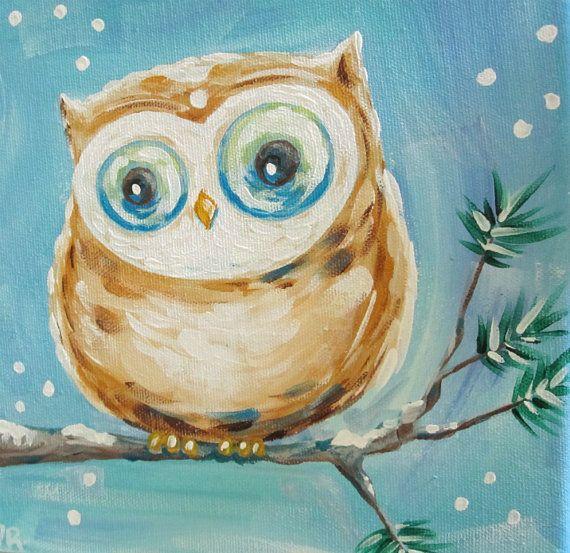 Original Canvas Painting Multi Color Owl