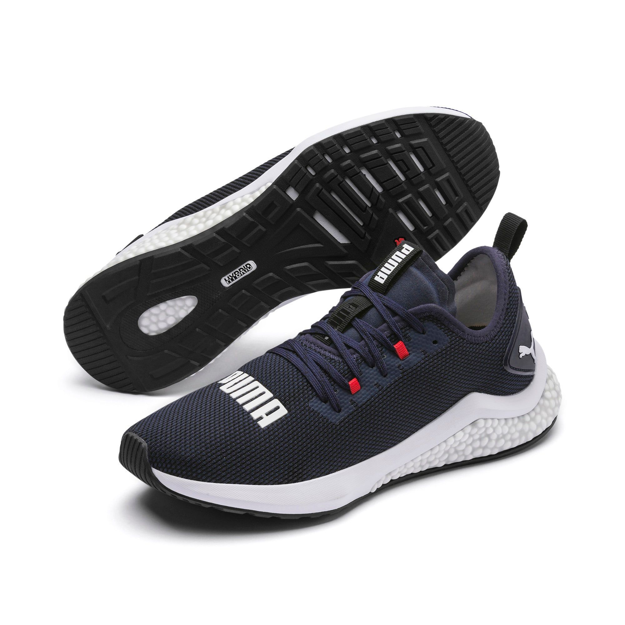 PUMA Hybrid Nx Mens Running Shoes in PeacoatHigh Risk RedWhite size 105