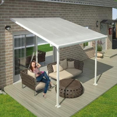 Palram Feria 10 Ft X 10 Ft White Patio Cover Awning 702720 Patio Design Patio Awning Covered Patio