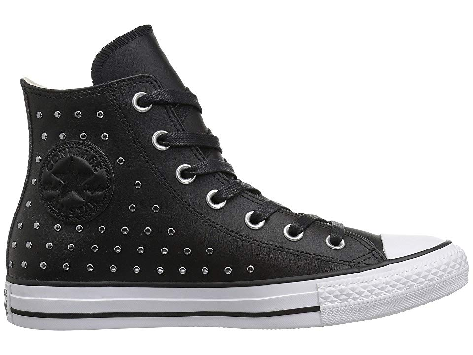 c8f371ae0bbe11 Converse Chuck Taylor All Star Leather Studs Hi Women s Shoes  Black Black Silver