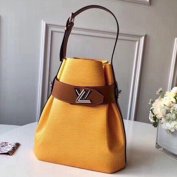 b6690d6daafd Louis Vuitton Two-tone Epi Leather Twist Bucket Bag Yellow Brown 2019