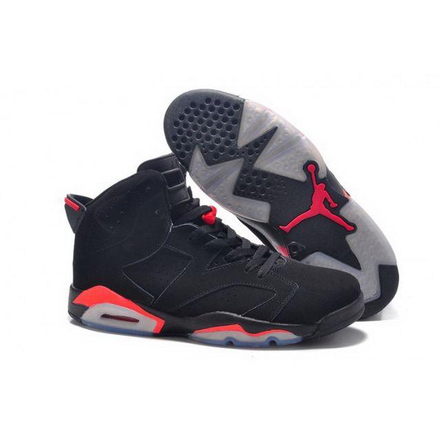 detailed look b6332 e87cf Mens Nike Air Jordan 6 Big Size Shoes Black Red Shoes