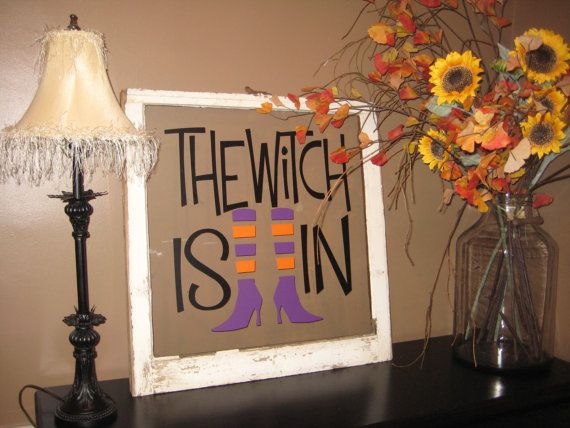 Decorative Halloween Window The Witch Is In by GypsyAlley on Etsy, $75.00