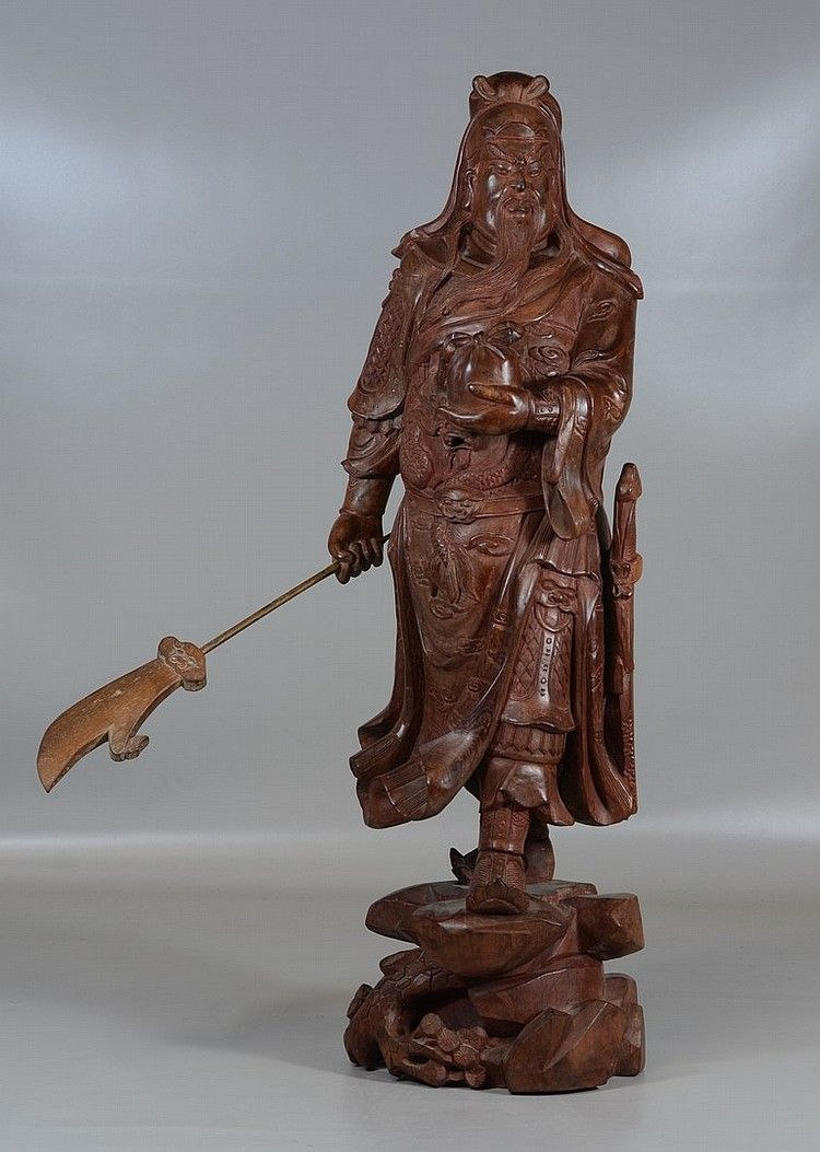 """Chinese carved wood warrior, 26-1/2"""" high"""