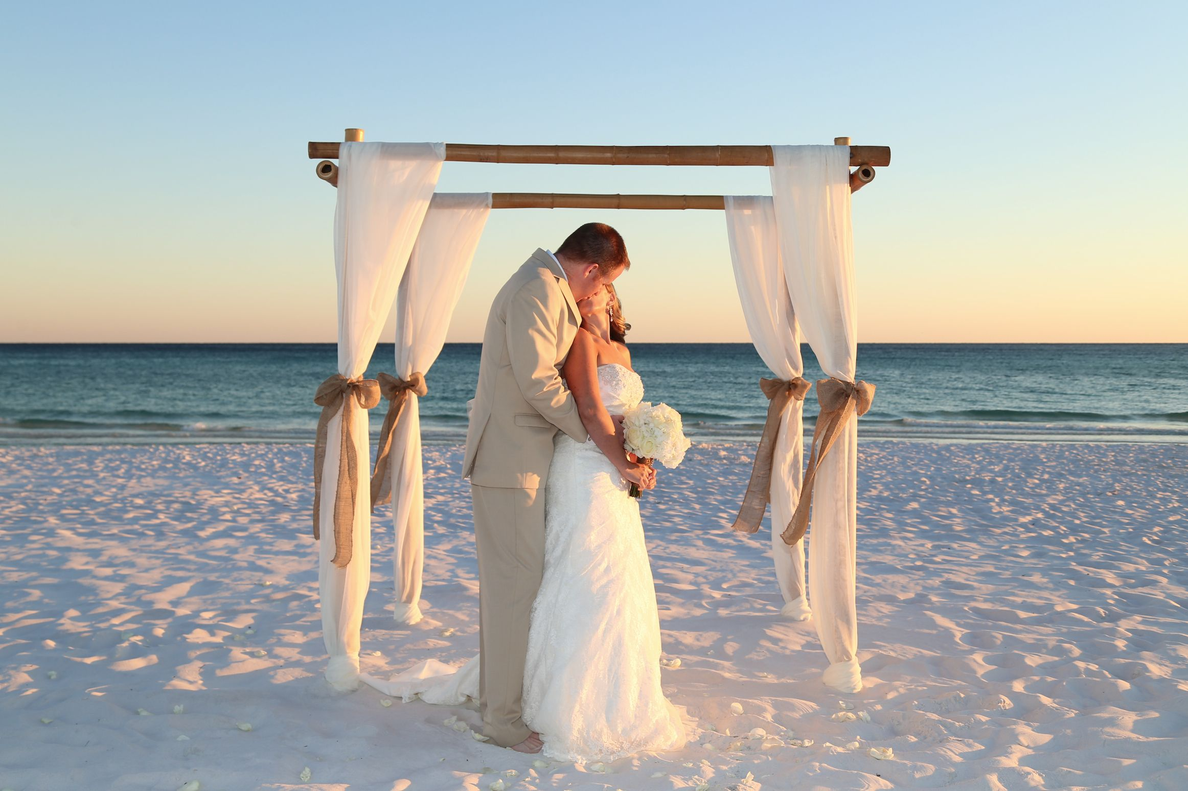 Bamboo Wedding Arbor Draped With Ivory Fabric And Burlap Ties Beach Decorations Get