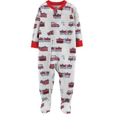 71ce7bb9d14a Carter s Size 18M Firetruck Rescue Footed Pajamas In Grey