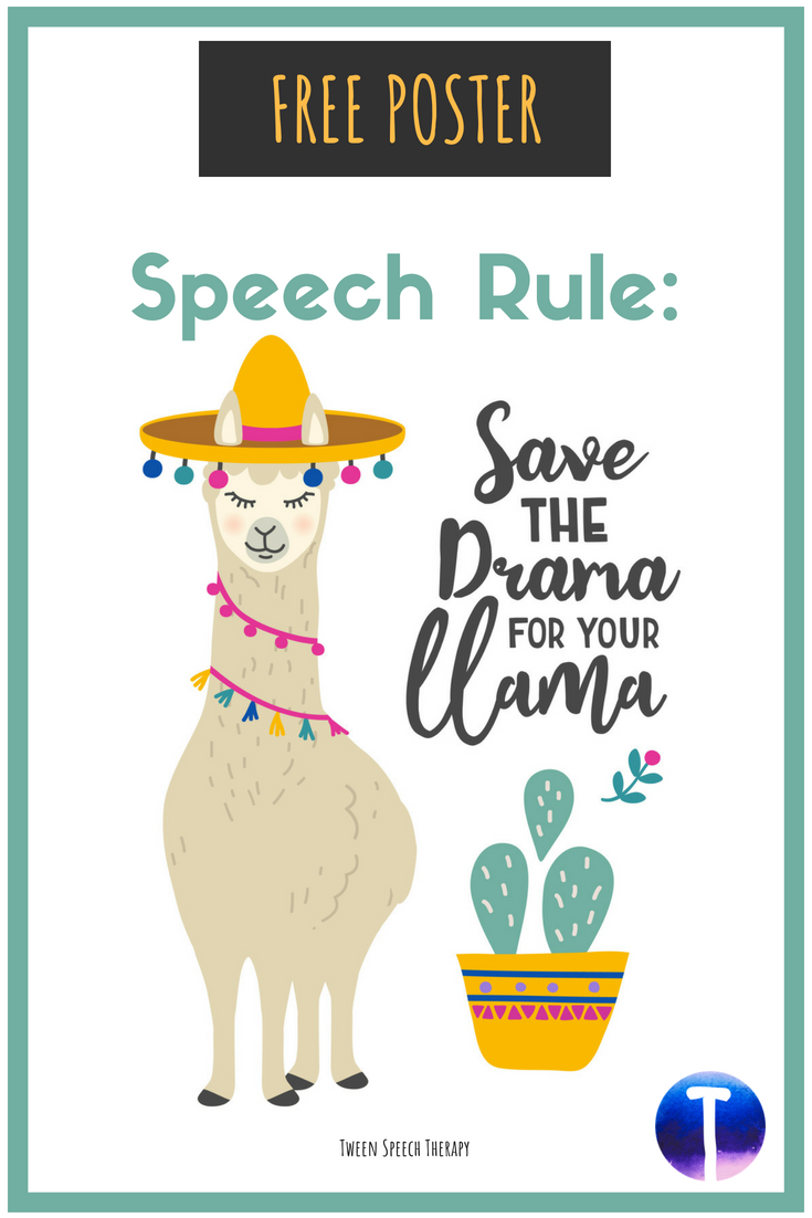 Speech Room Decor Poster 'Save the Drama' (Free) images