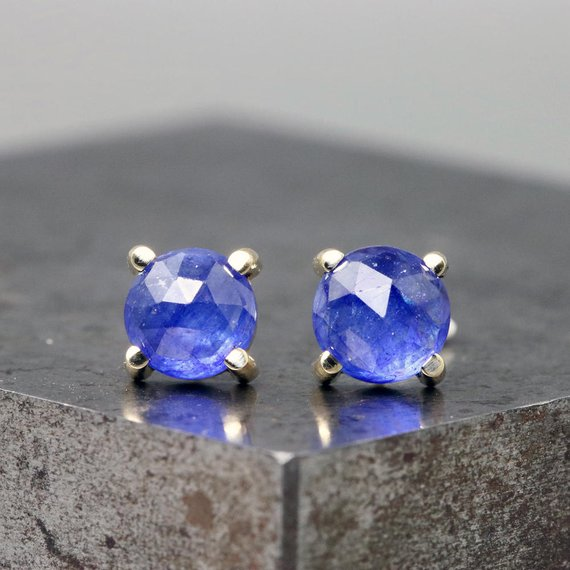 3e4155a6f 14k Yellow Gold Prong Stud Earrings with Rose Cut Blue Sapphires - Small  Natural Gemstone Studs - 6m