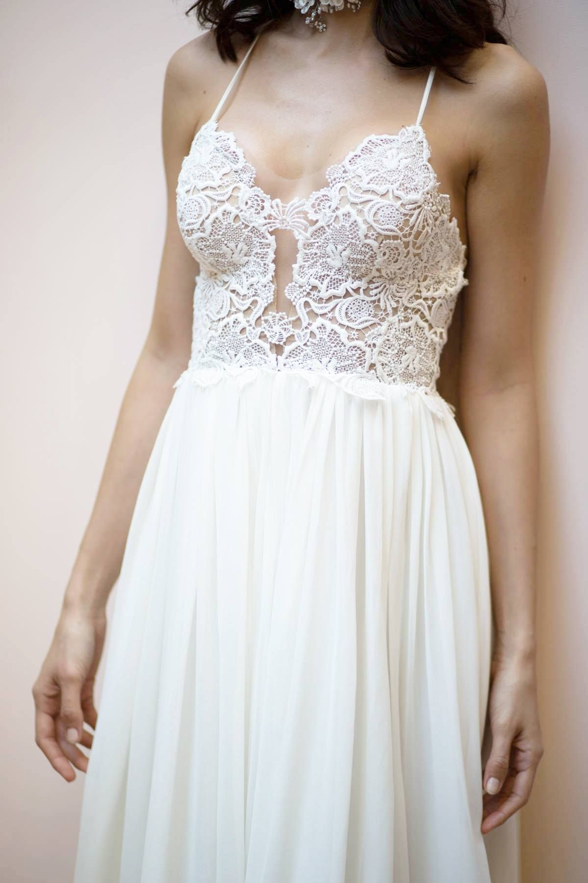 Lace wedding dress low back  Sarah Seven theromanticscollection Whitman Gown romantic lace