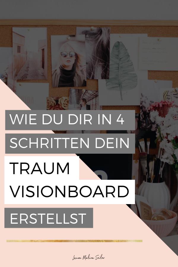 Wie du dir in 4 Schritten dein Traum Visionboard erstellst. Das Visionboard ist ein magisches Tool, um deine Wünsche, Träume, Sehnsüchte und Lebensvision zu visualisieren und zu manifestieren. Dein Visionboard entsteht, wenn du deine Träume, Ziele und Visionen mit Hilfe von Bildern, Zitaten, Illustrationen, Fotos und Texten als Collage zusammenführst. > Klicke auf den Pin und komme direkt zu meiner persönlichen 4 Schritte Anleitung. Laura Malina Seiler  | Vision Board | Anleitung | Manifestieren #collageboard