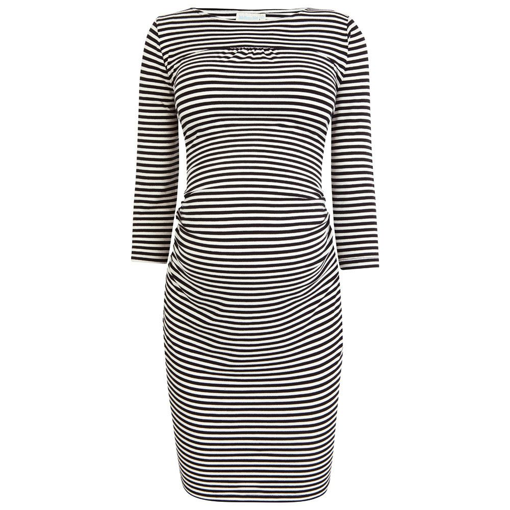 Stripe Rouched Maternity Dress. Price $79.00