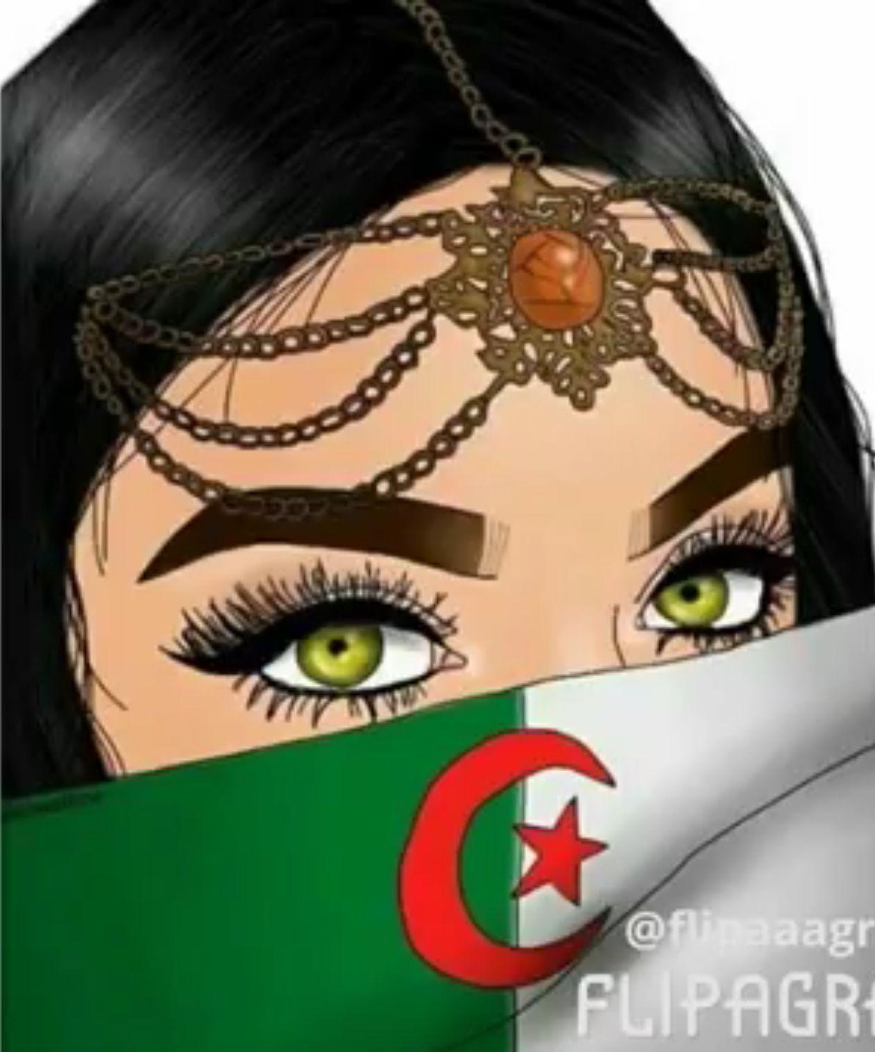 Algerie Drapeau Algerie Fille Algerienne Image Drapeau