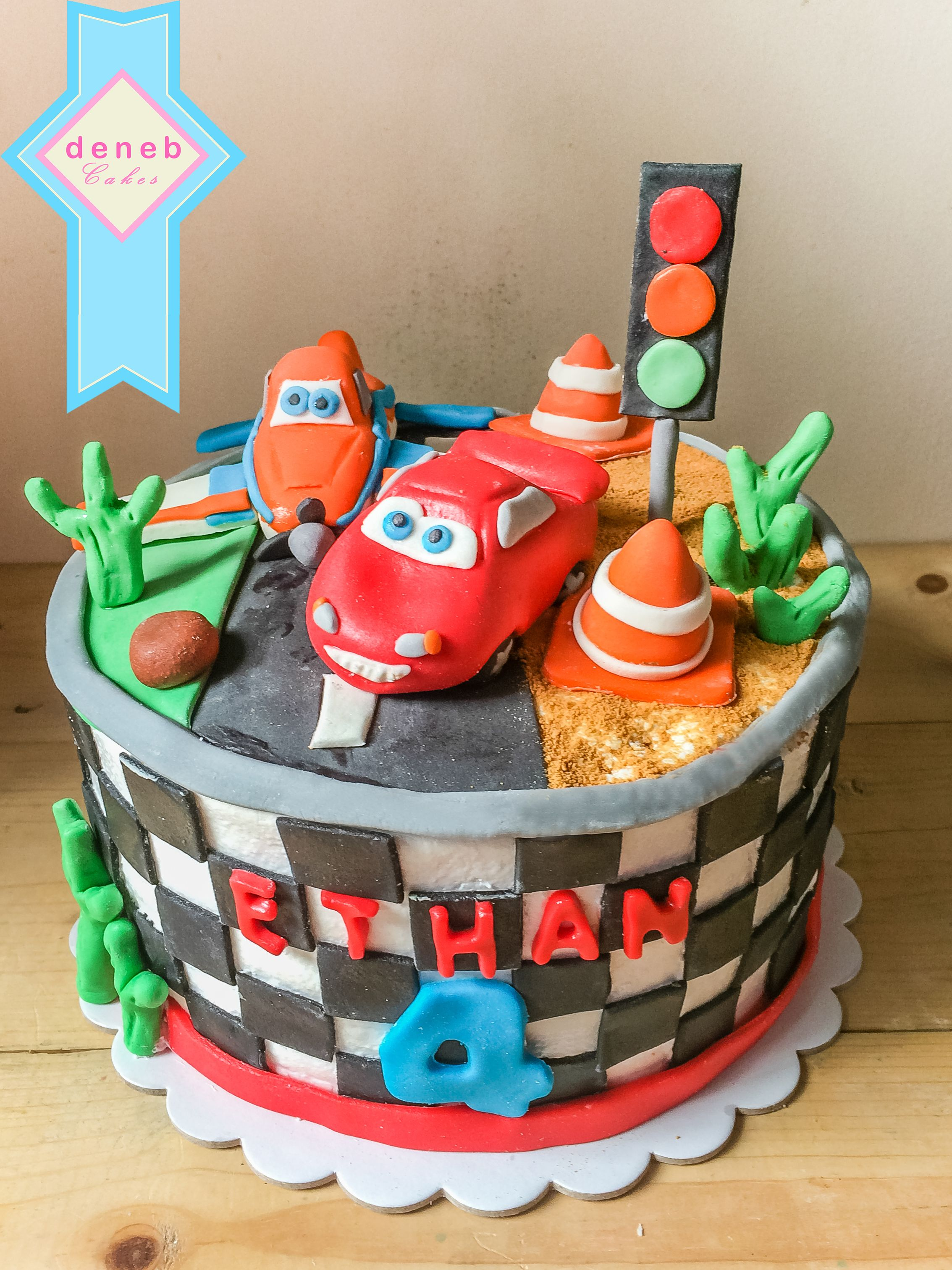 Cars And Plane Cake In Boiled Icing