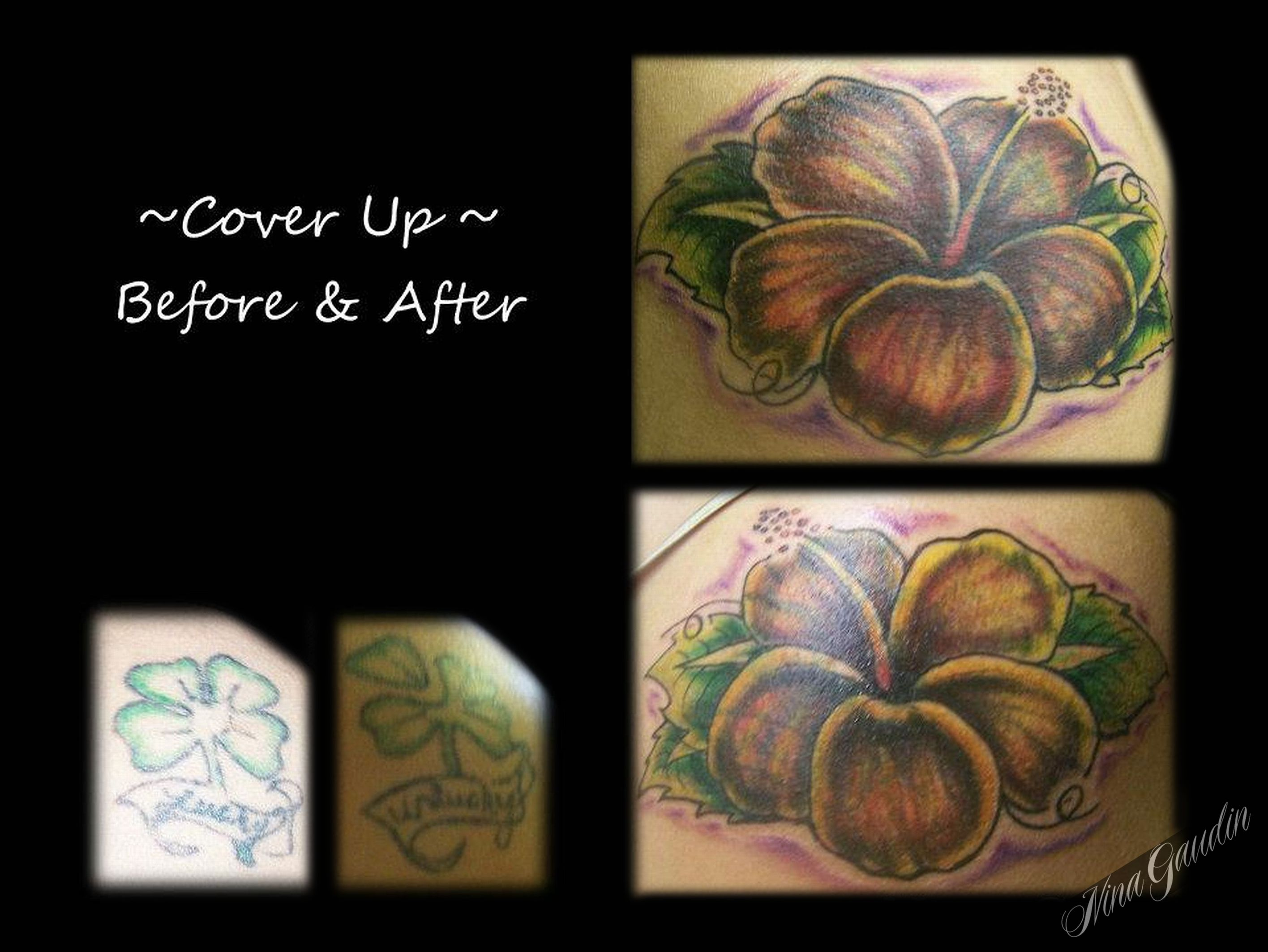 Hibiscus flower color shoulder cover up tattoos by nina gaudin of hibiscus flower color shoulder cover up tattoos by nina gaudin of 12th avenue tattoo in nampa id izmirmasajfo