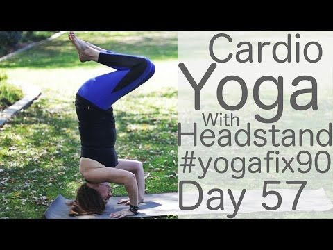 30 Minute Cardio Yoga (HIIT Workout with Headstands) Day 57 Yoga Fix 90 | Fightmaster Yoga Videos #cardioyoga