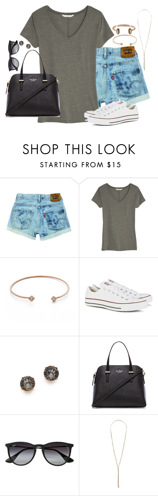 """""""you're the glitter in the dark"""" by preppy-classy ❤ liked on Polyvore featuring Victoria's Secret, Shashi, Converse, Kenneth Jay Lane, Kate Spade, Ray-Ban, Dorothy Perkins and Kendra Scott"""
