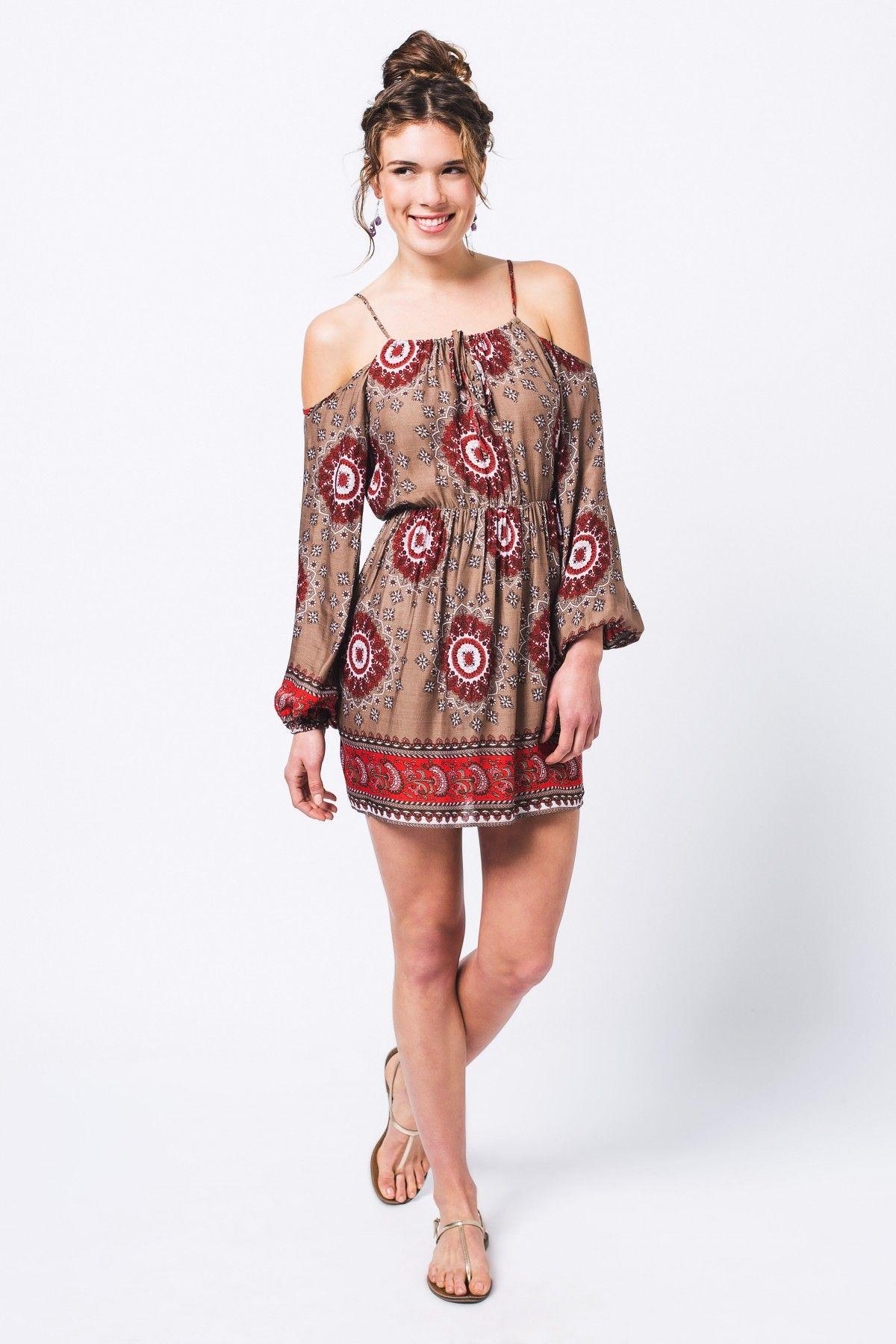 be2d572eac89 Beige Mandala Dress - Women's - Earthbound Trading Co. | Dresses ...
