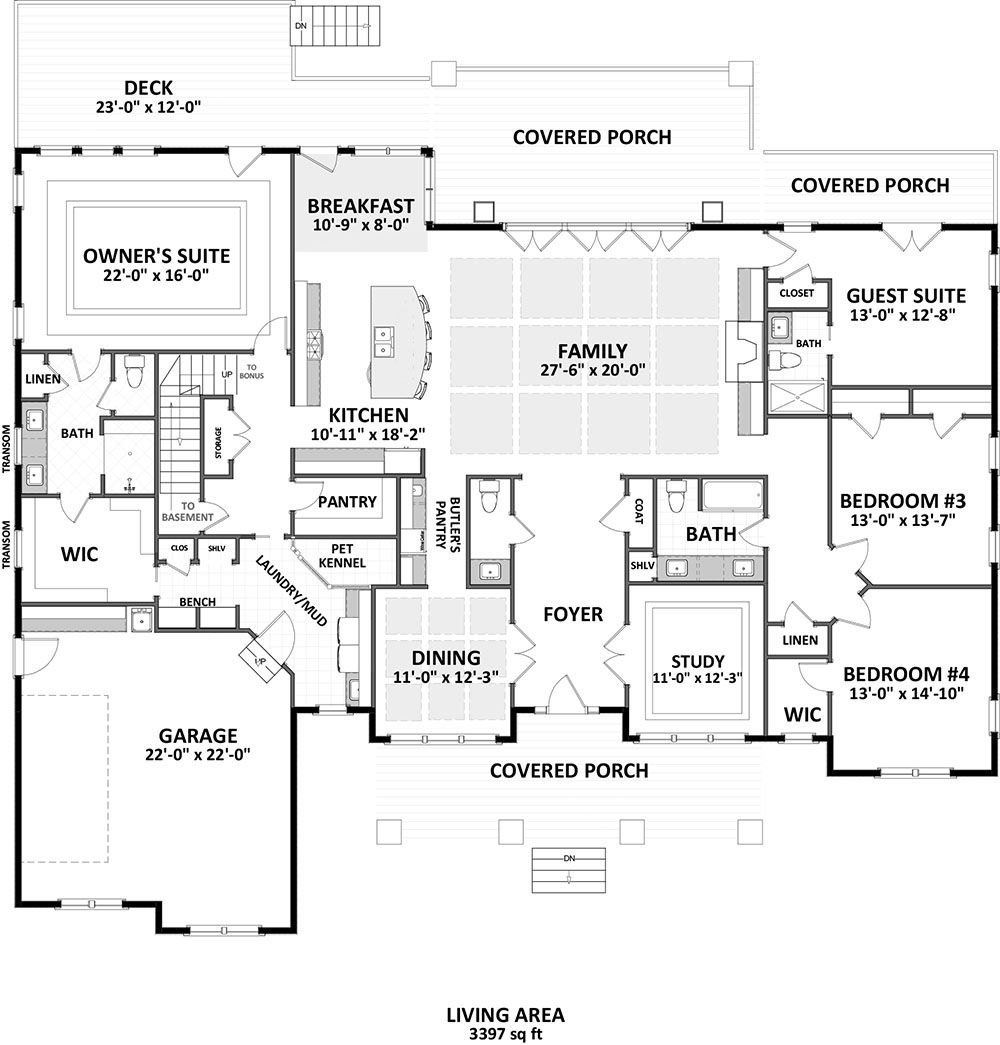 House Plan 6849 00050 Craftsman Plan 3 401 Square Feet 4 Bedrooms 3 5 Bathrooms In 2021 Dream House Plans How To Plan Craftsman House