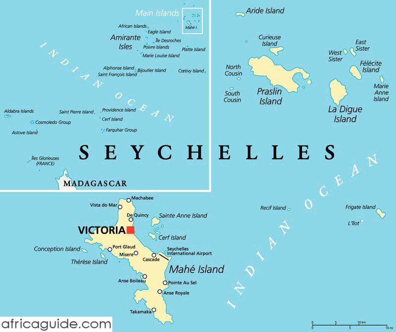 Seychelles Map With Capital Victoria Cose Che Mi Piacciono - Map of seychelles world
