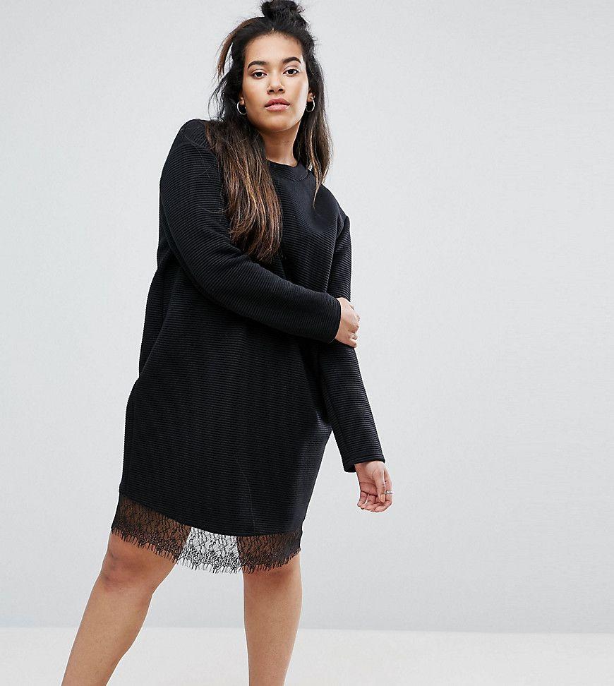 ASOS DESIGN Curve sweat with lace hem - Black Asos Curve 2018 Newest Online Buy Cheap Price 45W6os66p