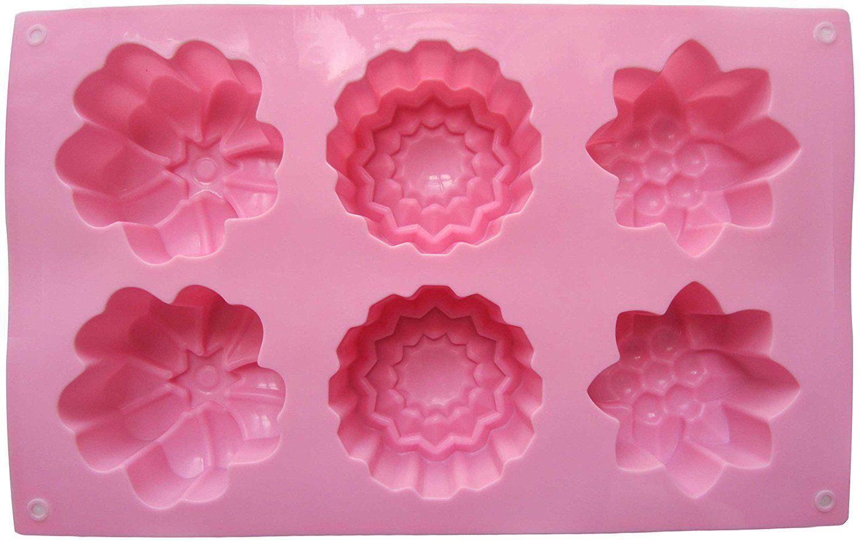 Handmade Soap Mold,6 Cavity Silicone Soap Mold Handmade Silicone Soap Molds DIY Baking Biscuit Chocolate Mold Soap Making Supplies.