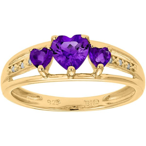 diamond three stone birthstone heart ring in rose yellow white black gold or silver birthstone rings gemstone 3 stone rings
