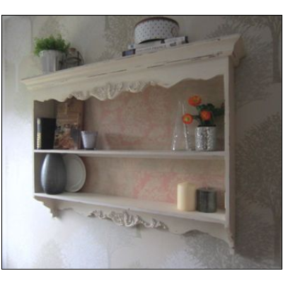 Large Wall Shelf Display Cabinet Ivory Cream French Shabby Chic Kitchenvintage