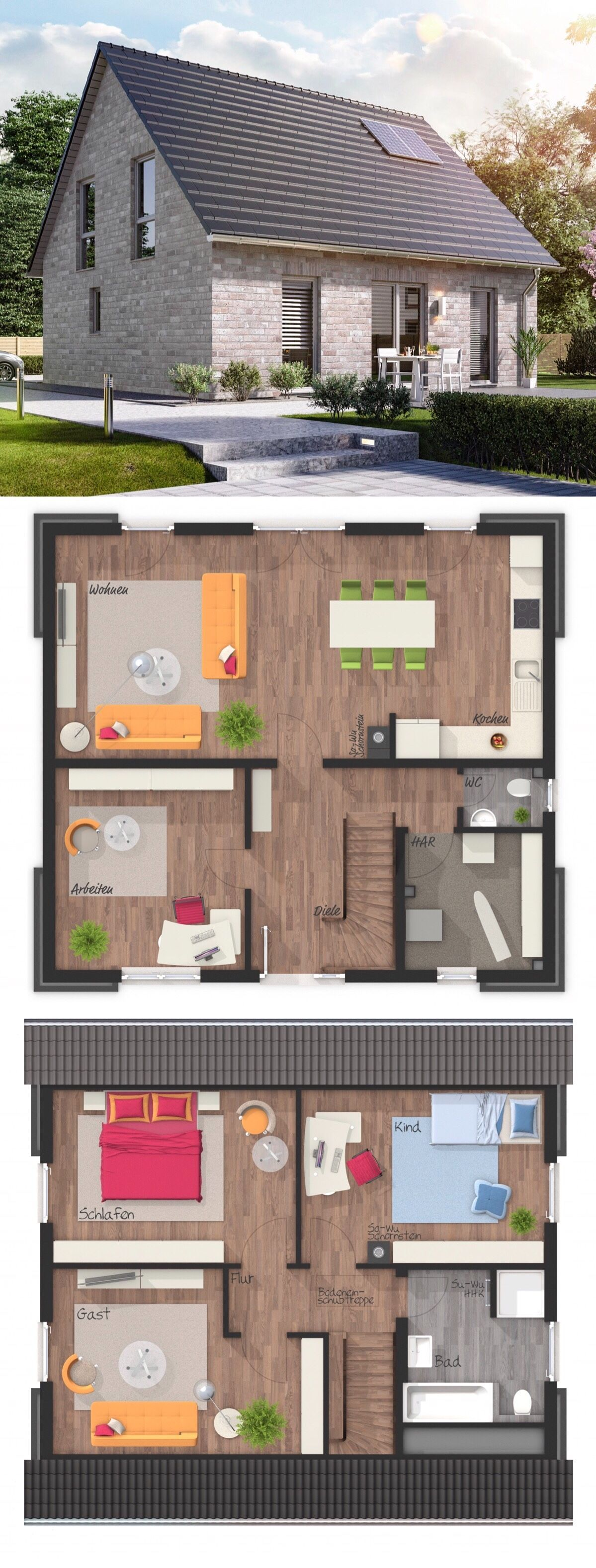 Einfamilienhaus Neubau klassisch mit Klinker Fassade grau