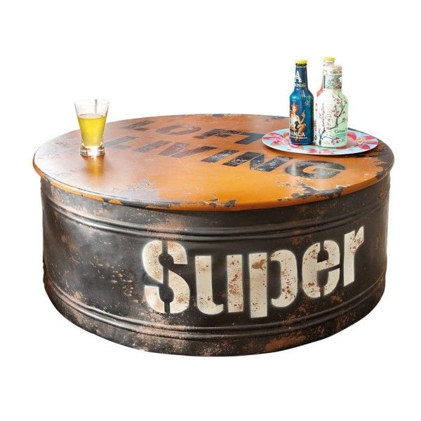 Table basse industrielle 31 id es pour votre salon for Table basse roulette industrielle