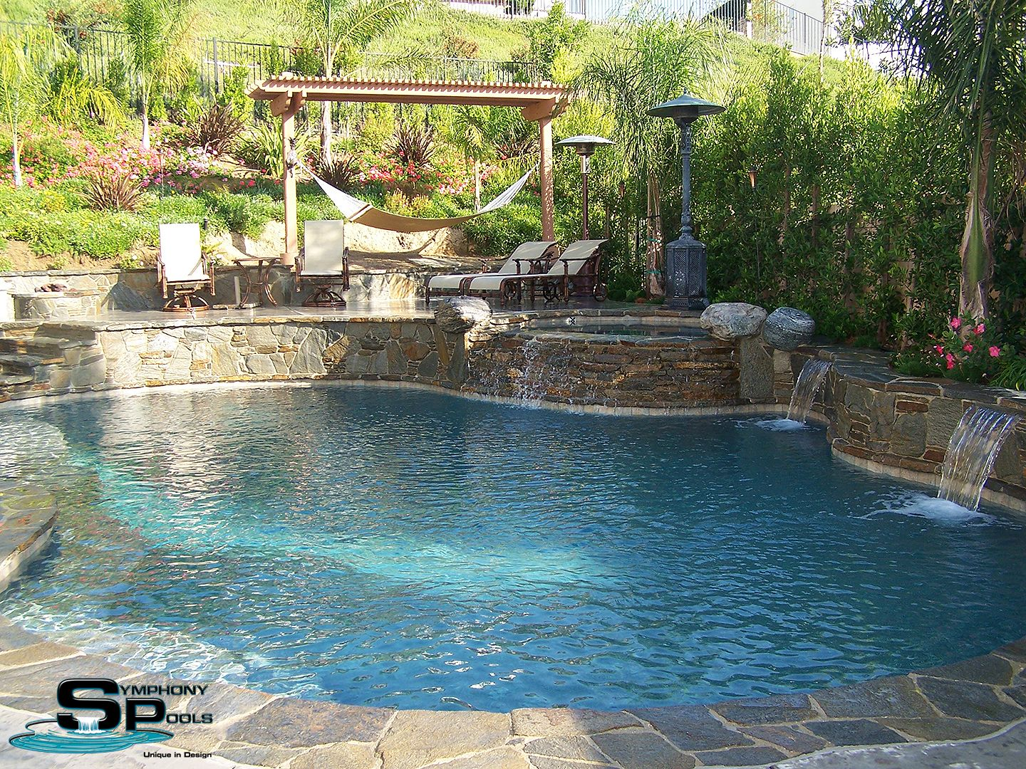 Image result for stacked fieldstone fountain wall | pool | Pinterest ...
