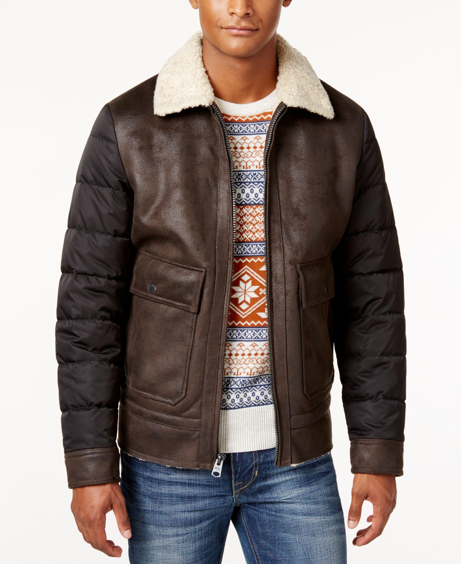 Buffalo David Bitton Men S Mixed Media Faux Shearling Jacket Faux Leather Bomber Jacket Faux Shearling Jacket Mens Big And Tall [ 2378 x 1947 Pixel ]