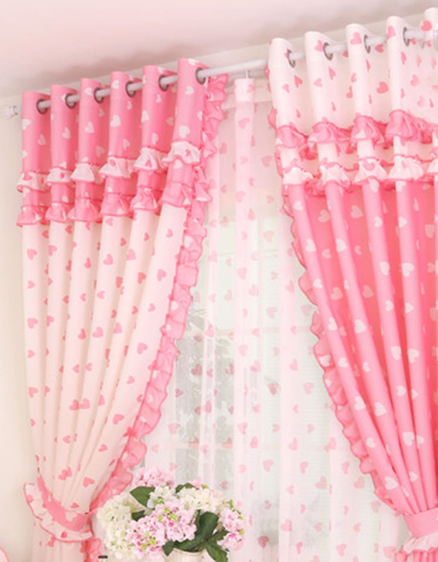 Sweet Pink Bedroom Curtains For Girls Accessories Appealing Princess Heart Motif Curtain With Cotton Material And Pastoral Style In