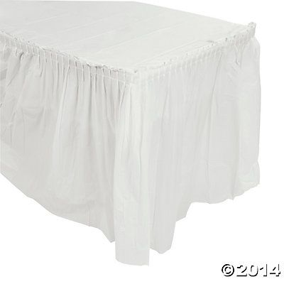 Pleated White Table Skirt Art Booths Round