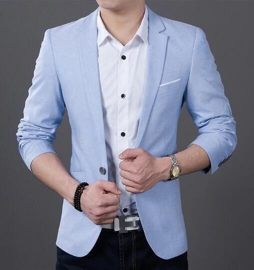 da8c9606b95f9 Jackets Male Slim Fit formal Sky Blue Suit Plus Size 5XL Blazer Spring